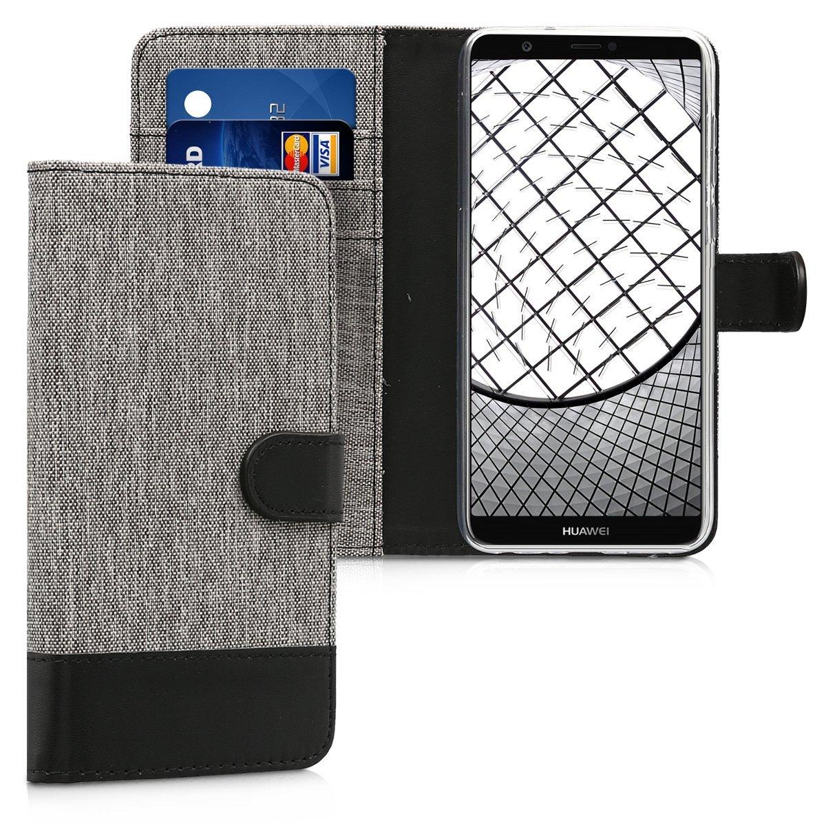 KW Θήκη - Πορτοφόλι Huawei P Smart 2018 - Grey / Black Canvas (44127.01)
