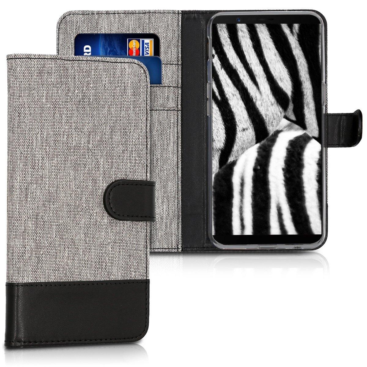 KW Θήκη - Πορτοφόλι OnePlus 5T - Grey / Black Canvas(43815.02)