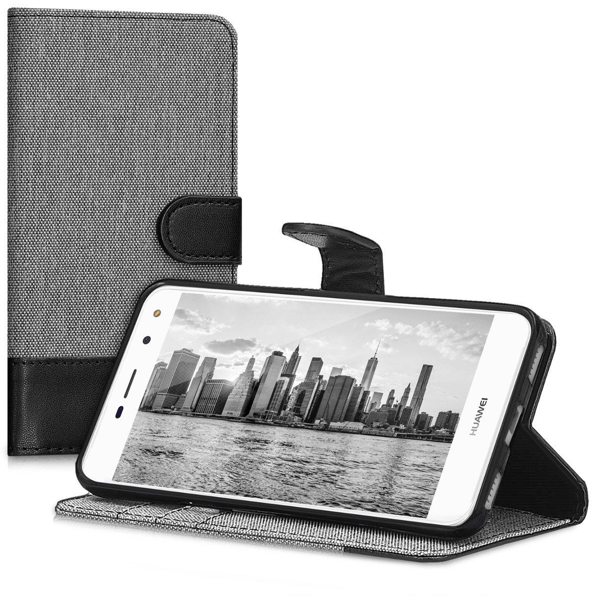 KW Θήκη Πορτοφόλι Huawei Y6 2017 - Grey / Black Canvas (42111.01) θήκες κινητών