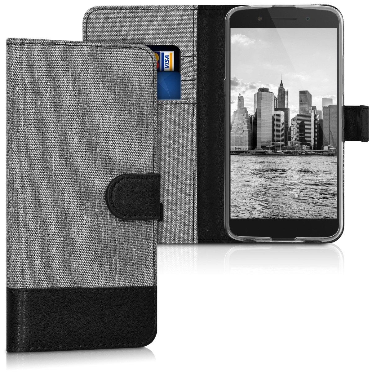 KW Θήκη Πορτοφόλι Alcatel Idol 5s - Grey / Black Canvas (43174.22) θήκες κινητών