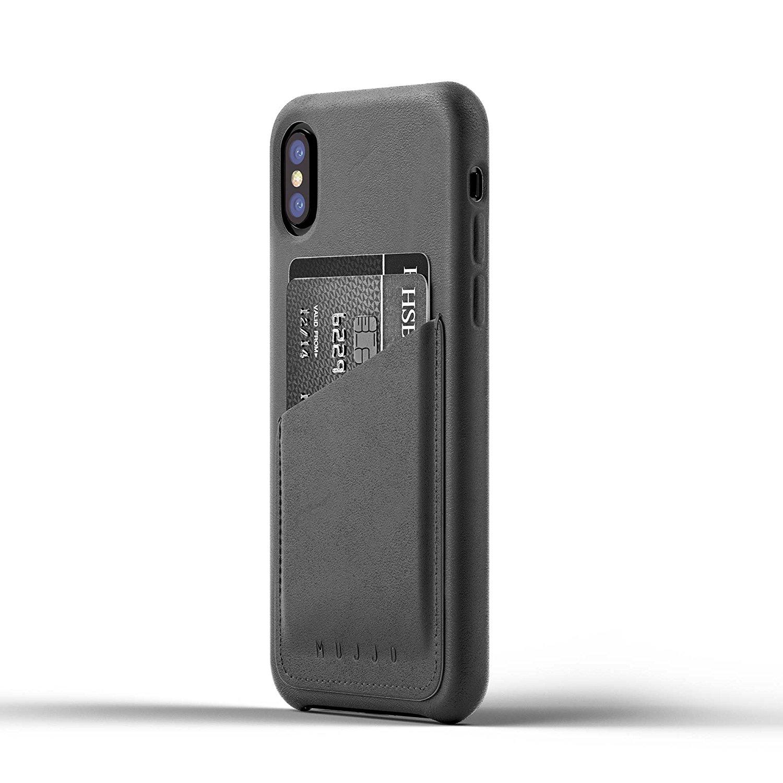 MUJJO Full Leather Wallet Case - Δερμάτινη Θήκη-Πορτοφόλι iPhone X/XS - Gray (mujjo-cs-092-gy)