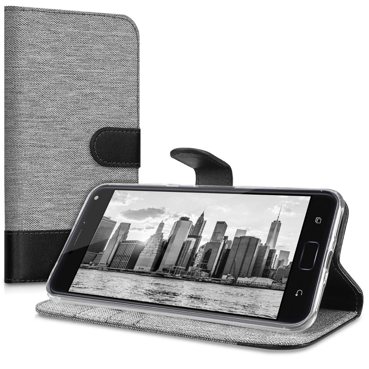 KW Θήκη Πορτοφόλι Asus Zenfone 4 Max Pro - Grey / Black Canvas (42583.01) θήκες κινητών