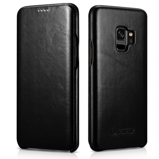 iCarer Vintage Series Side-Open Δερμάτινη Θήκη Samsung Galaxy S9 - Black (12877)