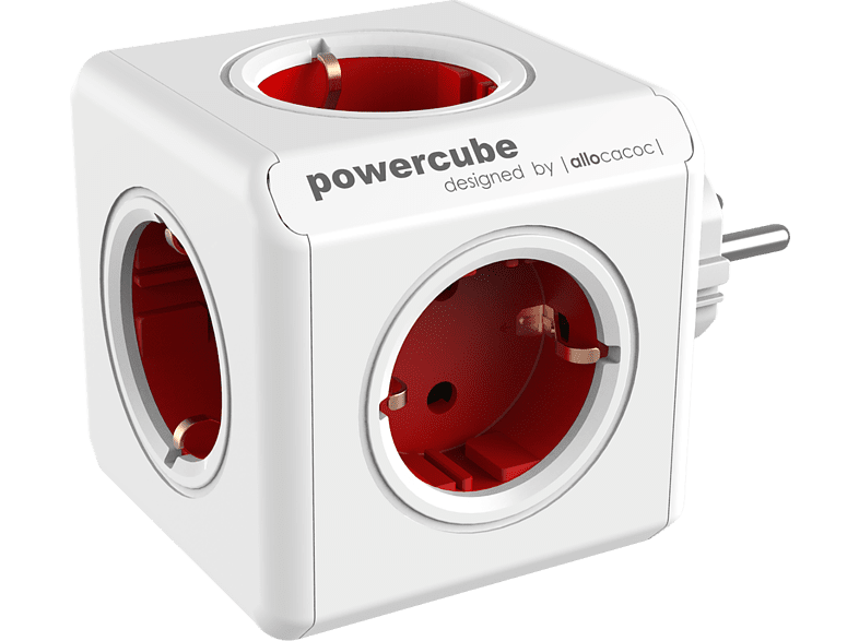 Allocacoc PowerCube Original - Πολύπριζο με 5 Υποδοχές - Red (1100RD/DEORPC)