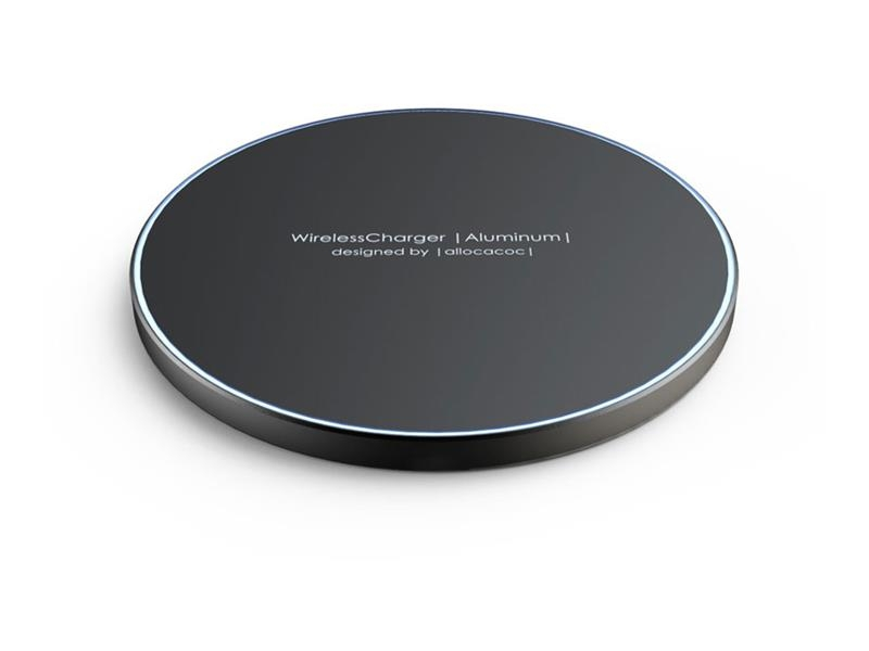 Allocacoc Aluminum Wireless Charger  - Super Slim Quick - Ασύρματος Φορτιστής - 10W - Black (11023BK/WLCGAL)