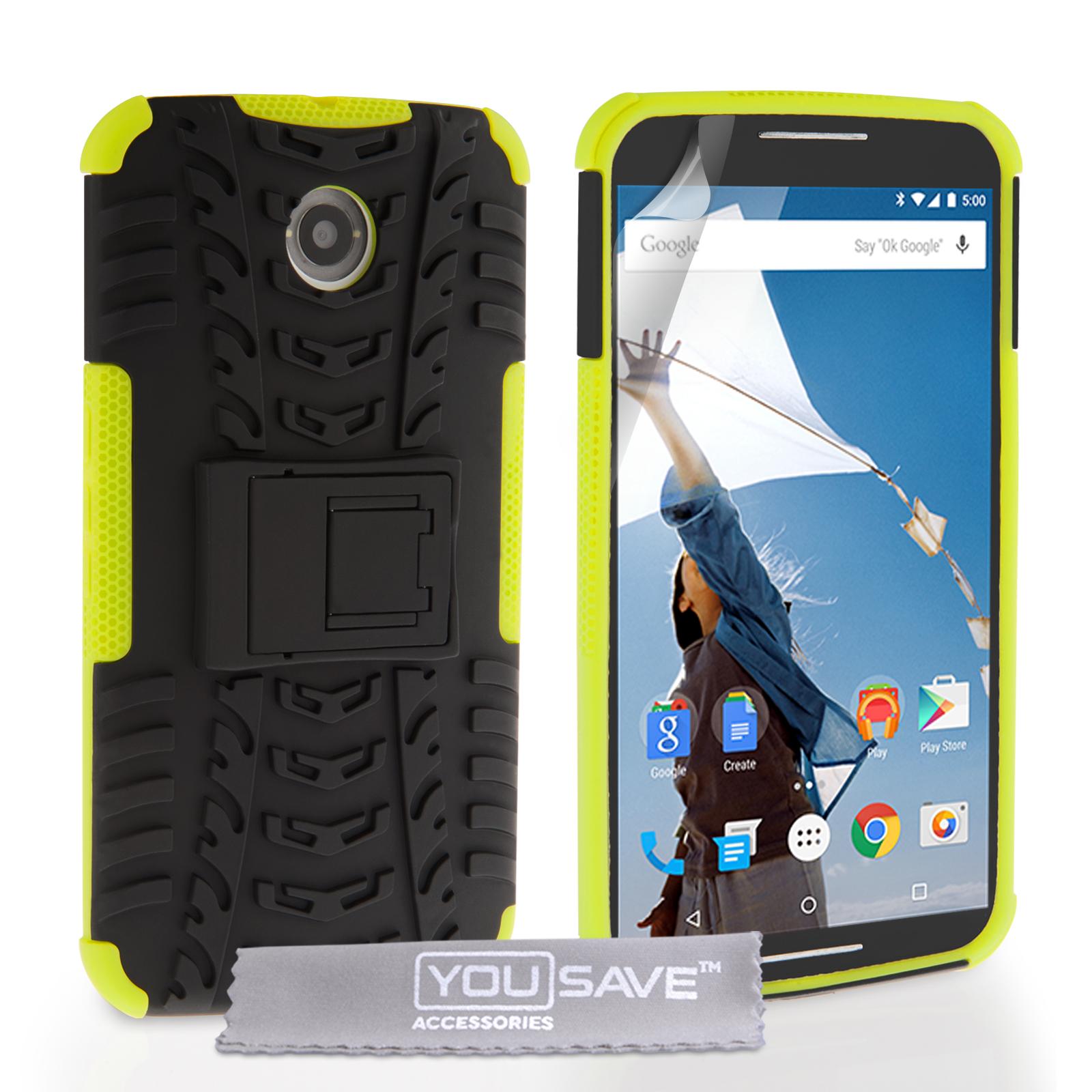 Ανθεκτική Θήκη Motorola Nexus 6 by YouSave - Black / Green (Z453)