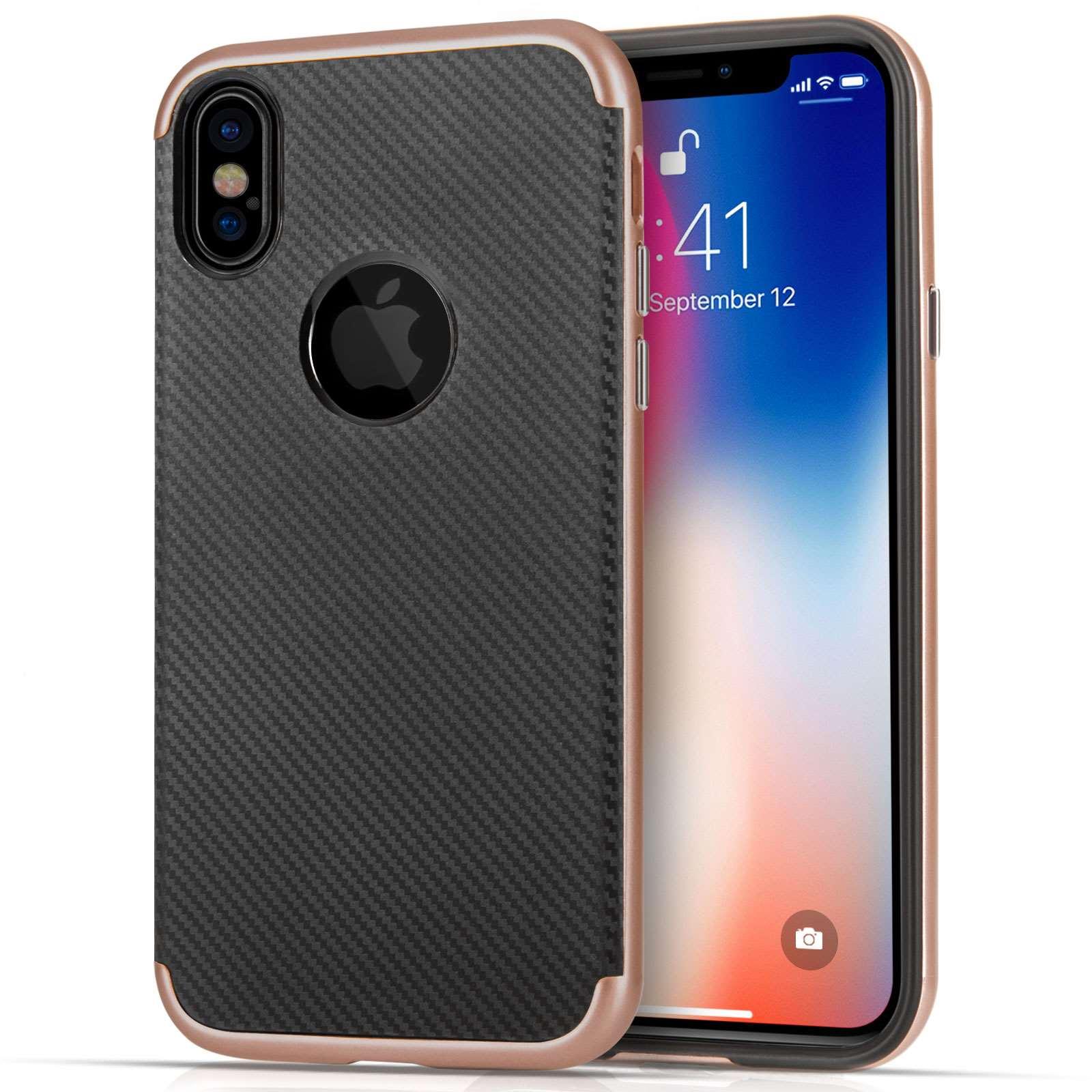 Centopi Θήκη Carbon Fibre iPhone X / XS - Black / Rose Gold (CEN-APP-124)