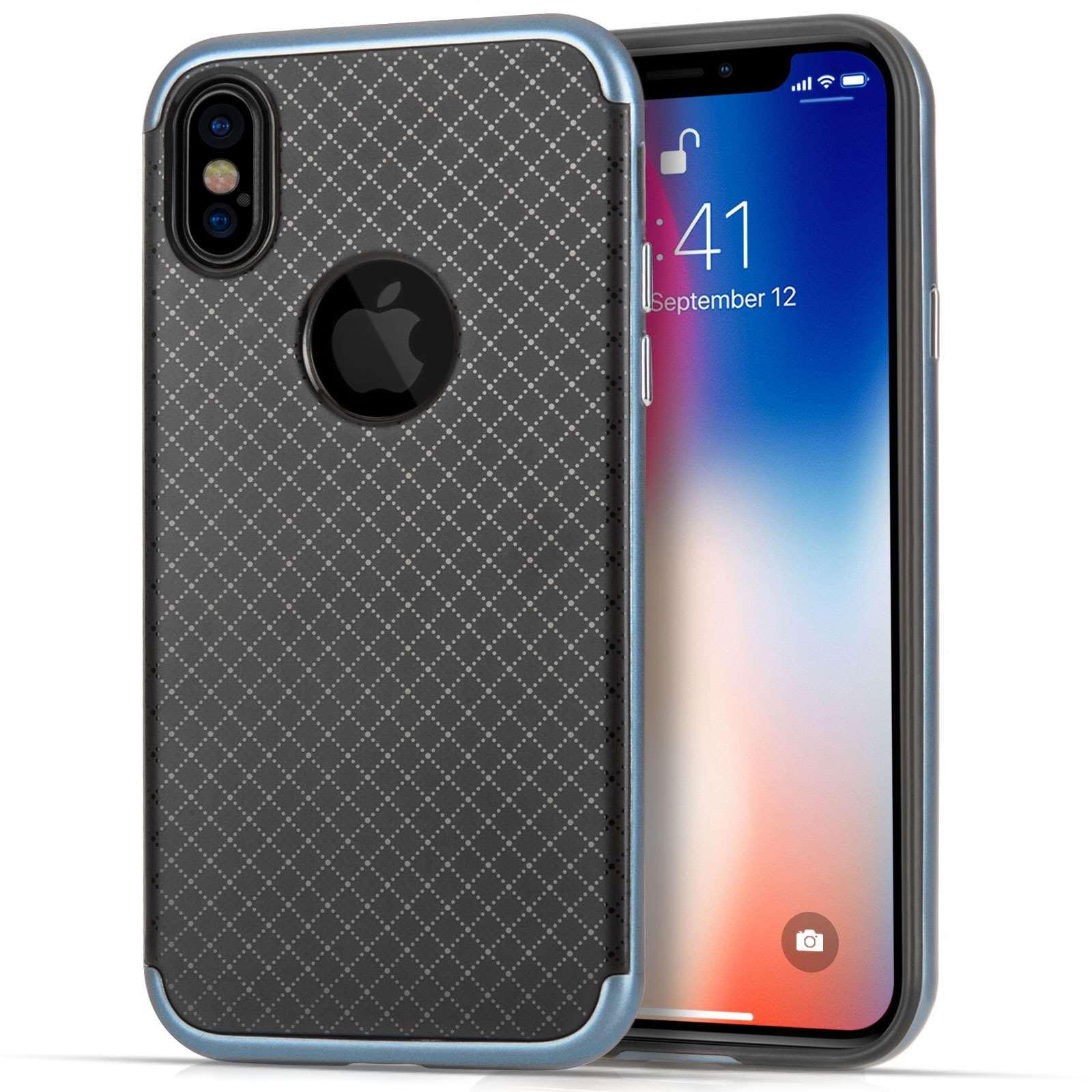 Centopi Θήκη Crosshatch iPhone X / XS - Black / Silver (CEN-APP-125)