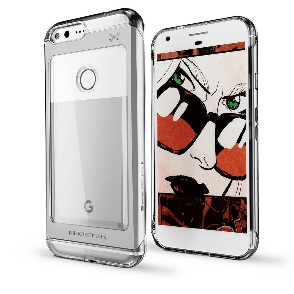 Ghostek Θήκη Tough Cloak 2 Series Aluminium Google Pixel XL + Tempered Glass - Clear/Silver (GHOCAS461)