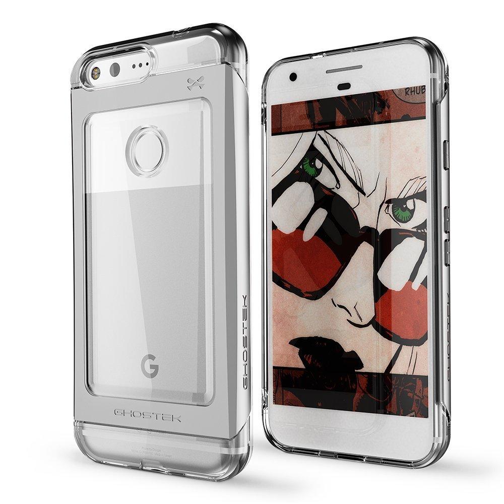 Ghostek Θήκη Tough Cloak 2 Series Aluminium Google Pixel + Tempered Glass - Clear/Silver (GHOCAS485)