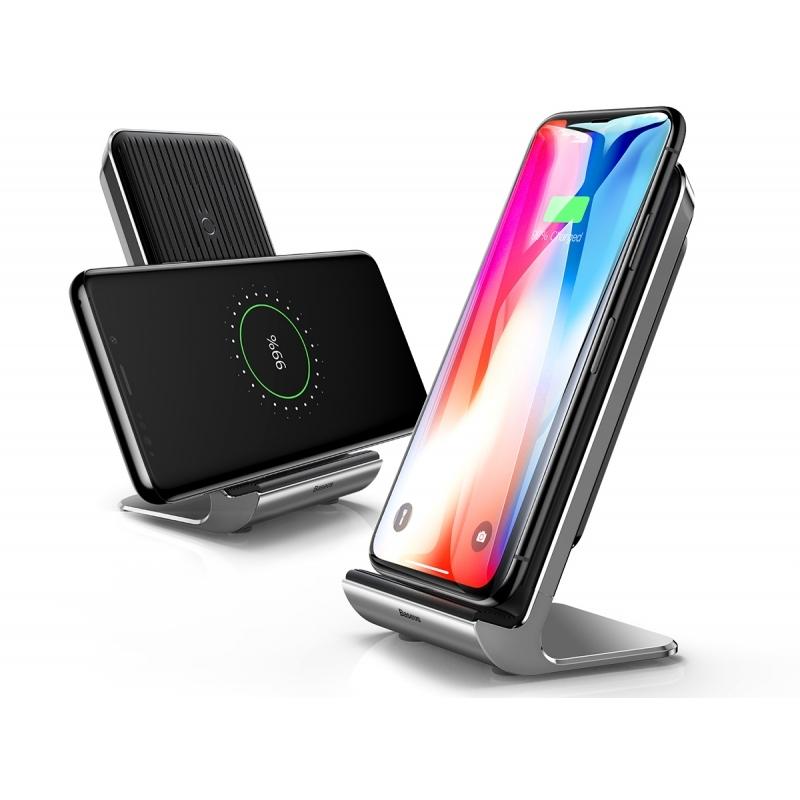 Baseus Vertical Desktop Wireless Charger - Ασύρματος Φορτιστής - Silver & Black (WXLS-01)