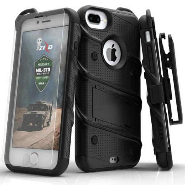 Zizo Bolt Series Ανθεκτική Θήκη iPhone 7 Plus - Black + Tempered Glass