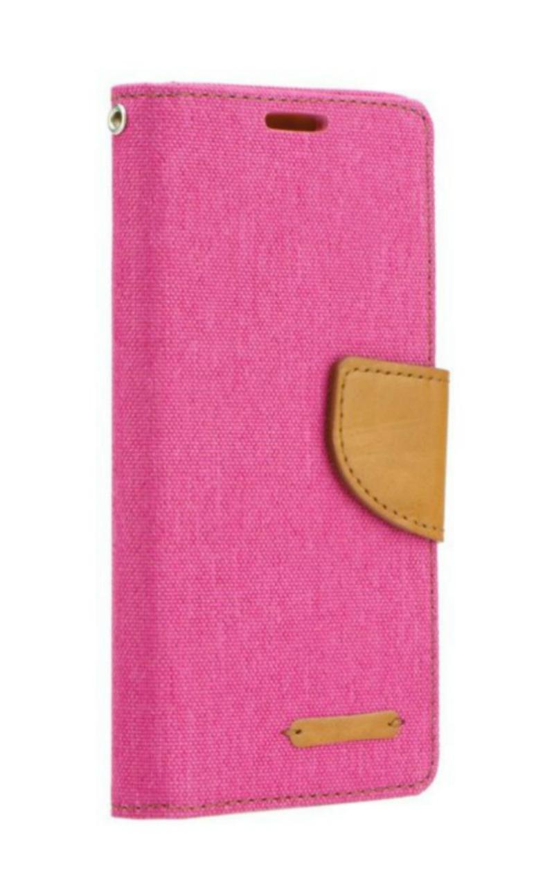 Θήκη Canvas Book LG X Power - Πορτοφόλι (9431) - Φούξια/Καφέ - OEM