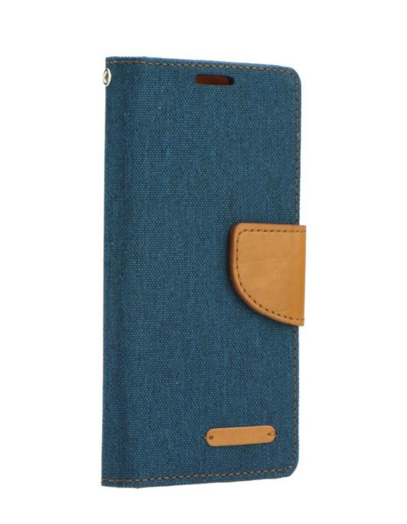 Θήκη Canvas Book Huawei Y5II - Μπλέ/Καφέ (9075) - OEM