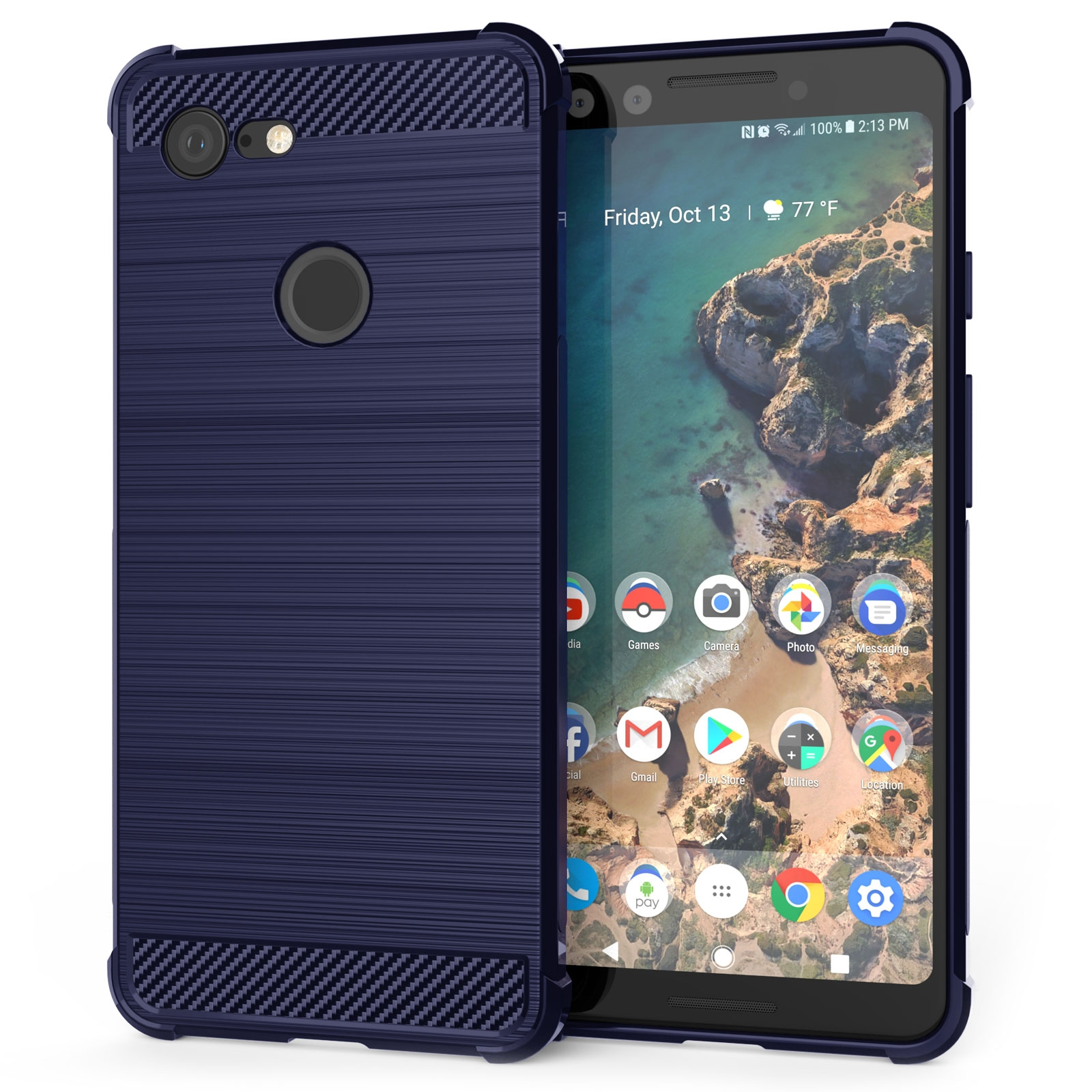 Caseflex Θήκη Σιλικόνης Carbon Fibre Effect Google Pixel 3 - Blue (CS000005GO)