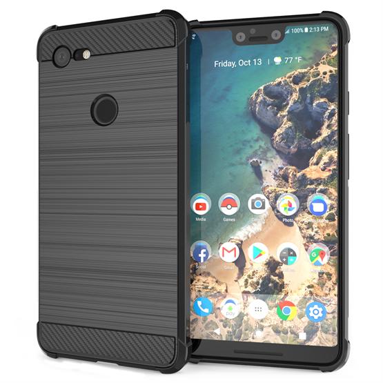 Caseflex Θήκη Σιλικόνης Carbon Fibre Effect Google Pixel 3 XL - Black (CS0006GOXL)
