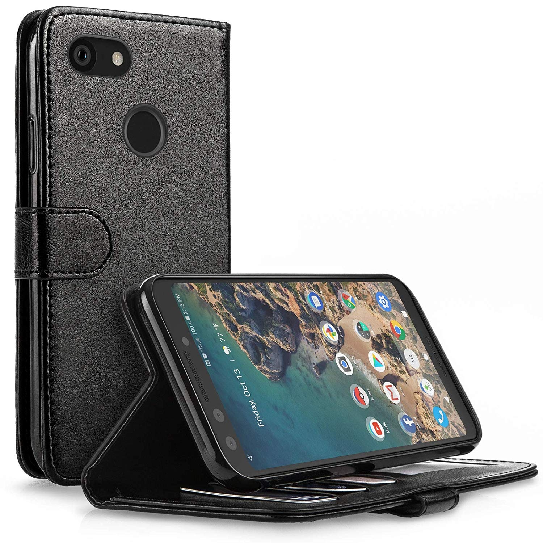 Caseflex Θήκη - Πορτοφόλι Leather Effect Google Pixel 3 - Black (CS000007GO)