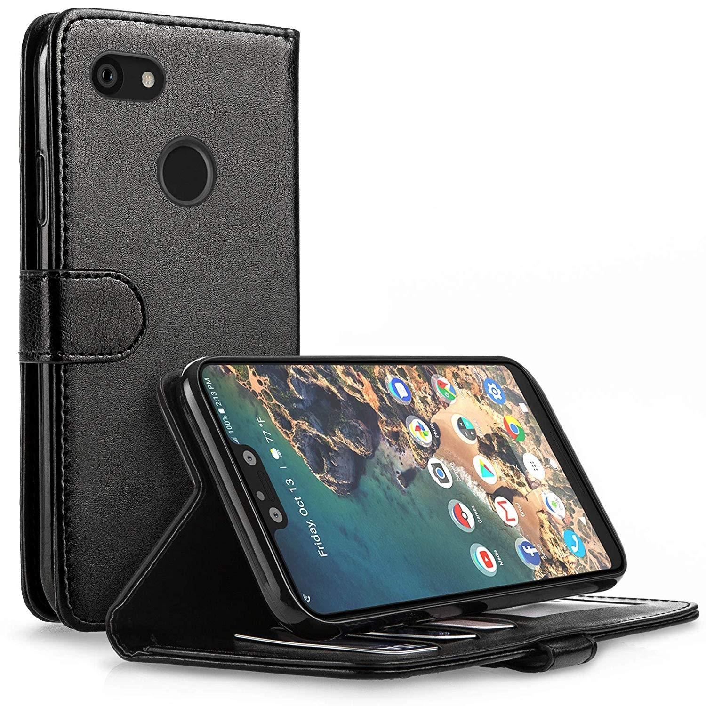 Caseflex Θήκη - Πορτοφόλι Leather Effect Google Pixel 3 XL - Black (CS000008GO)
