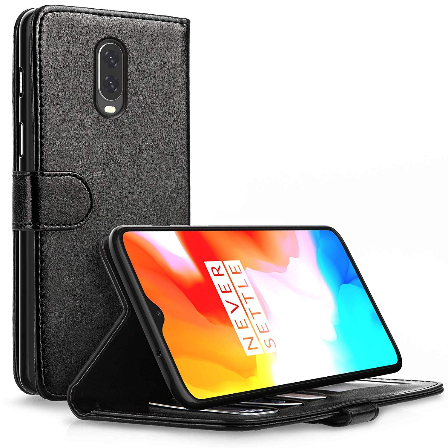 Caseflex Θήκη - Πορτοφόλι Leather Effect Oneplus 6T - Black (CS000016ON)