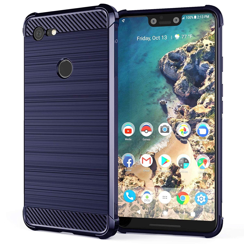Caseflex Θήκη Σιλικόνης Carbon Fibre Effect Google Pixel 3 XL - Blue (CS0005GOXL)