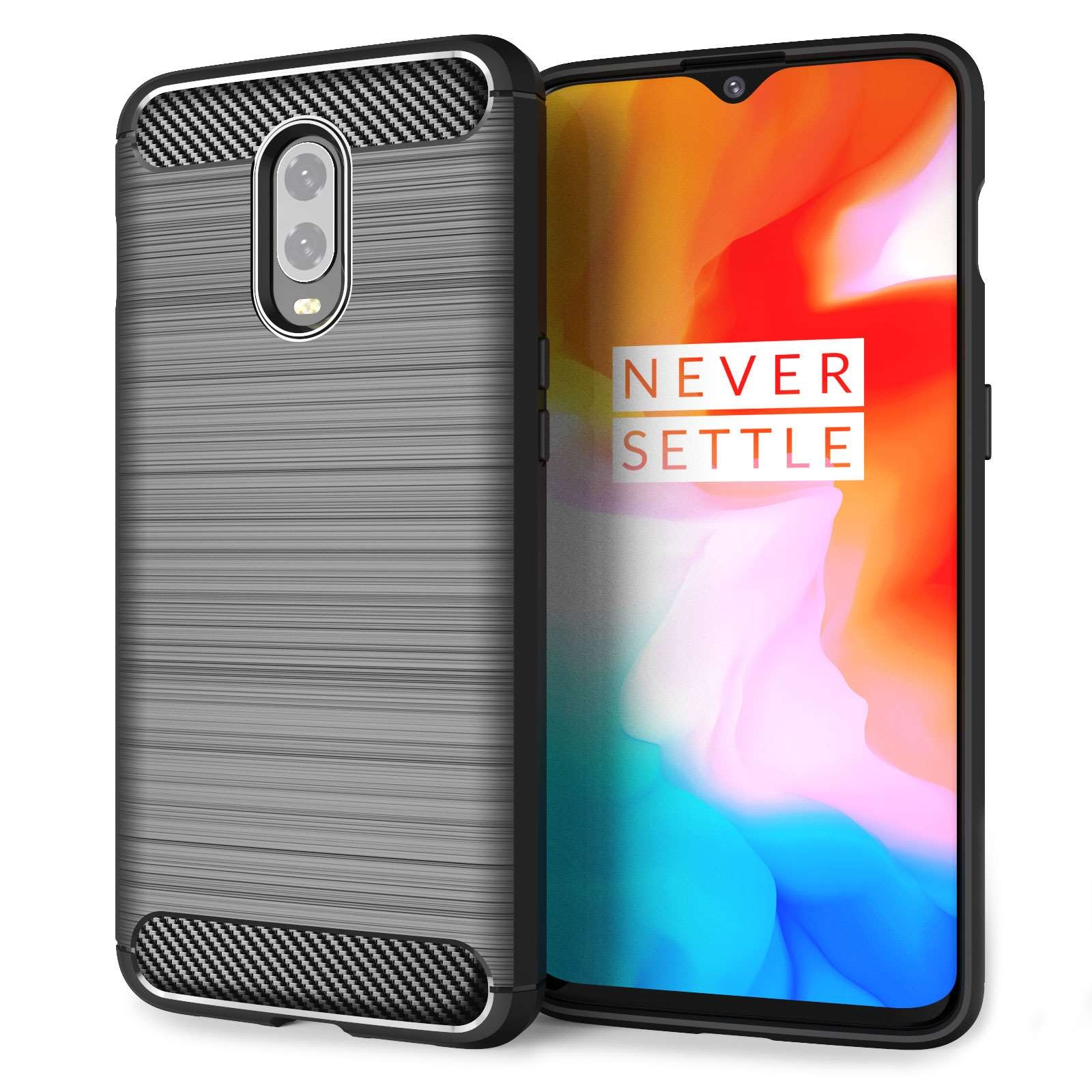 Caseflex Θήκη Σιλικόνης Carbon Fibre Effect Oneplus 6T - Black (CS000014ON)