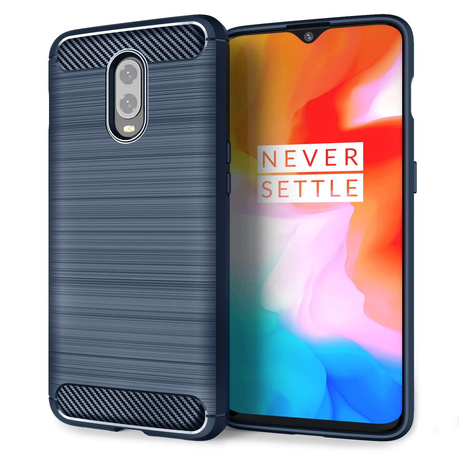 Caseflex Θήκη Σιλικόνης Carbon Fibre Effect Oneplus 6T - Blue (CS000013ON)