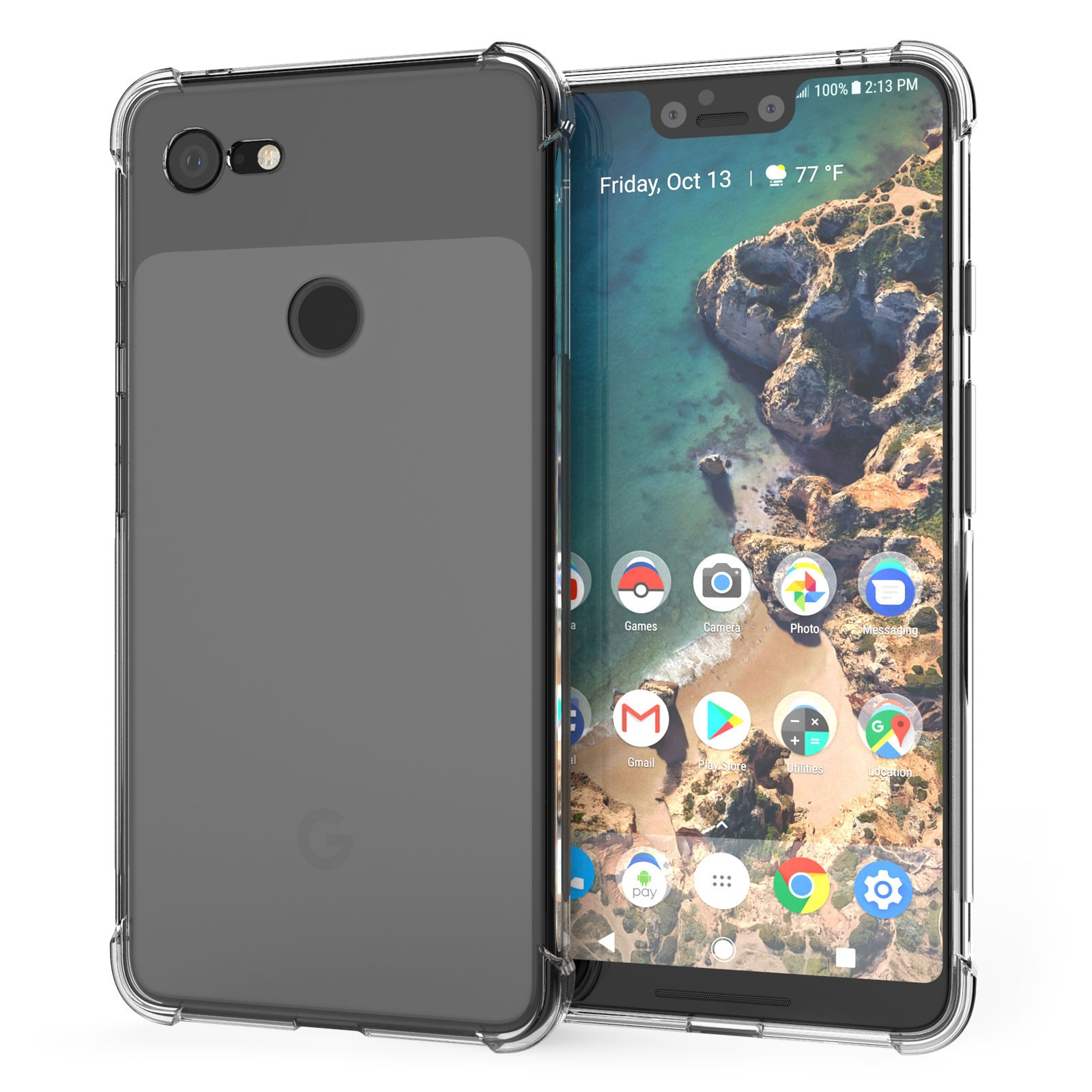 Caseflex Θήκη Σιλικόνης Google Pixel 3 XL - Clear (CS0002GOXL)