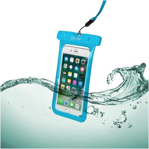 Celly Universal Αδιάβροχη Θήκη Πουγκί για Smartphones έως 6.2'' - IPX8 - Blue (SPLASHBAG18LB)
