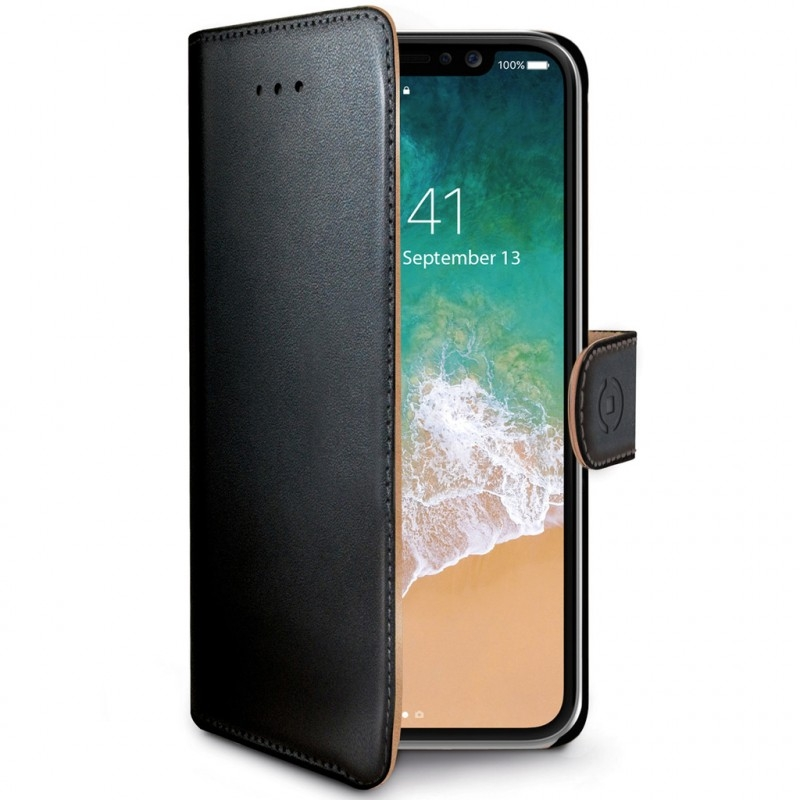 Celly Wally Θήκη - Πορτοφόλι iPhone X / XS - Black/Tan (WALLY900)