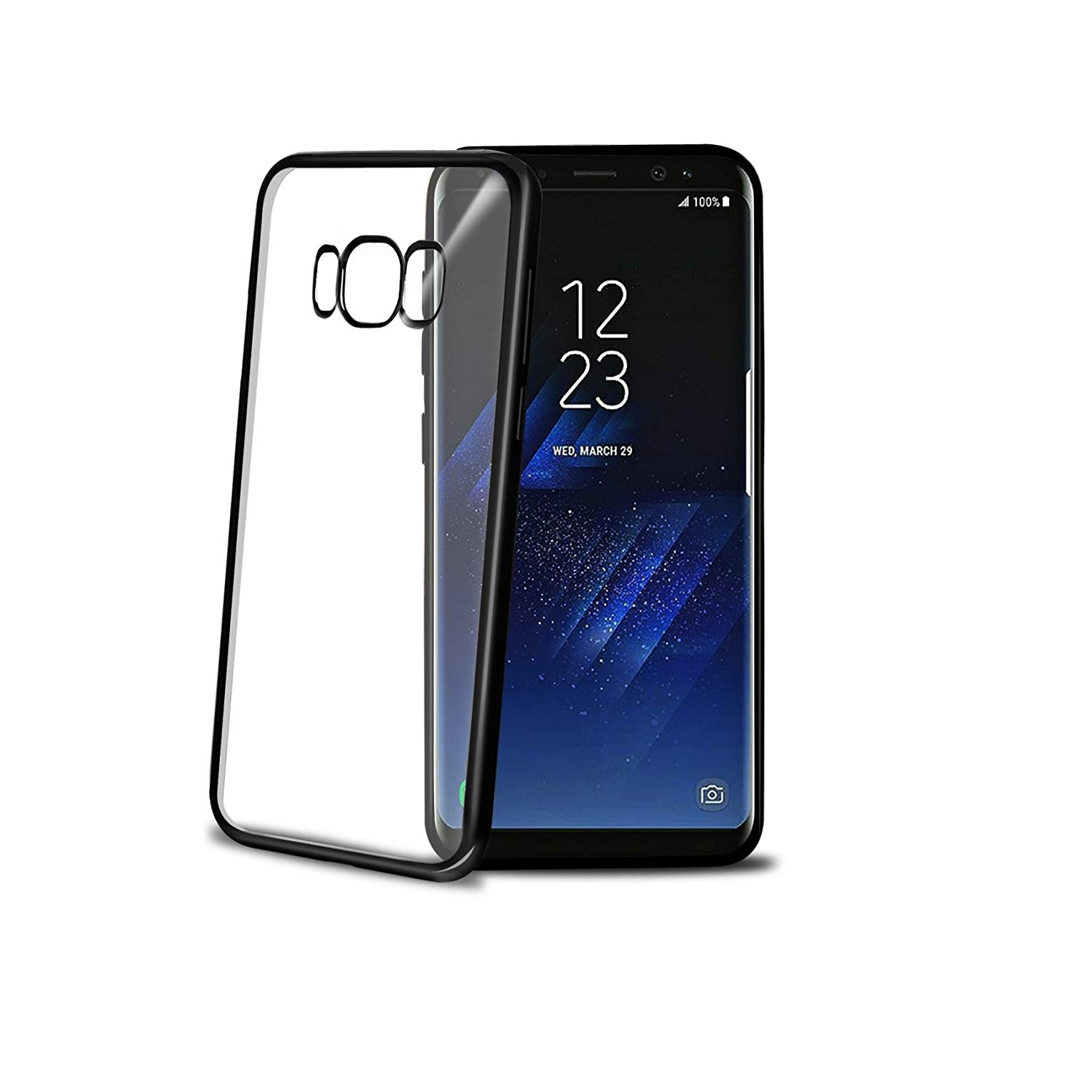 Celly Θήκη Σιλικόνης Samsung Galaxy S8 Plus- Transparent / Black (LASER691BK)