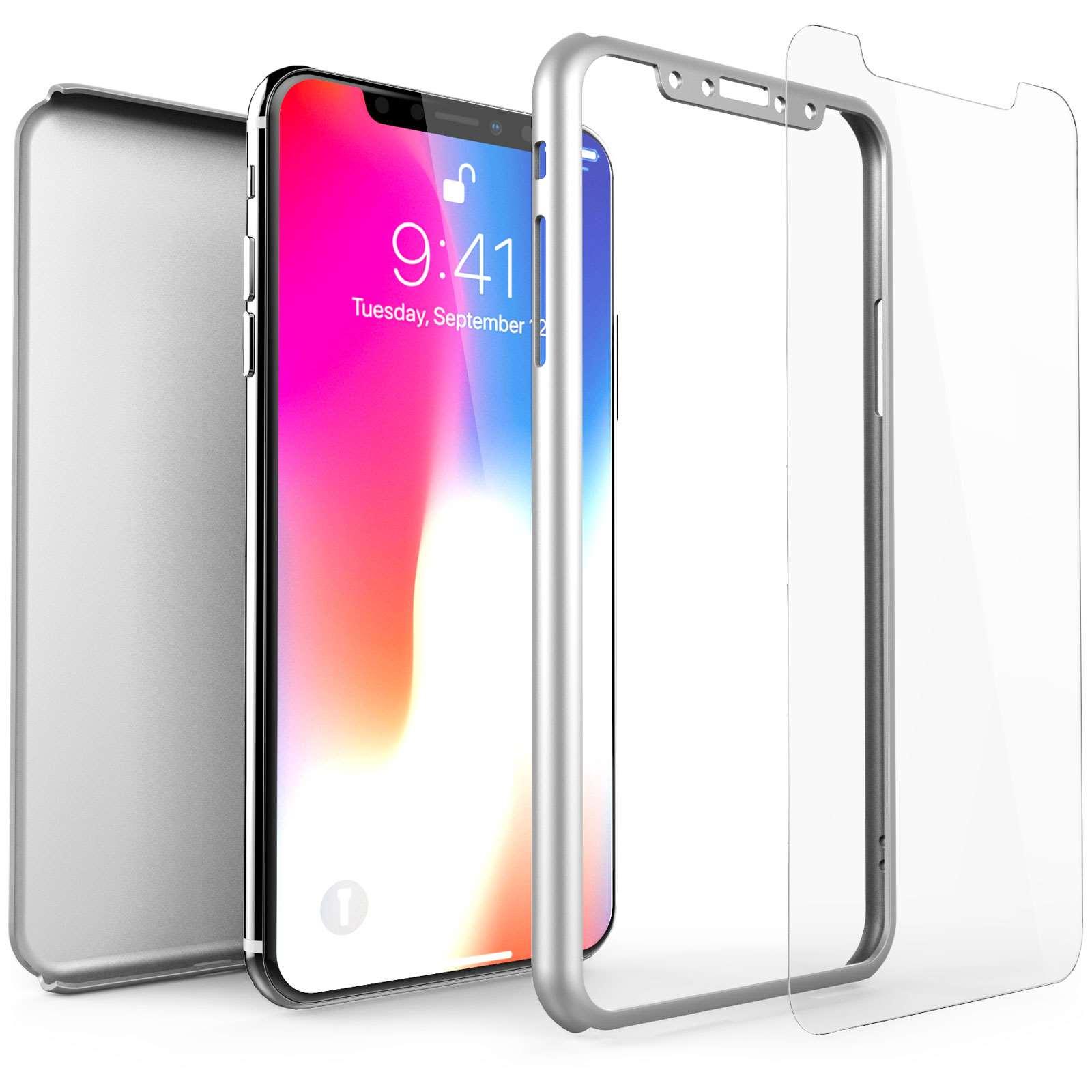 Centopi Θήκη Hybrid 360° iPhone X / XS & Tempered Glass - Silver (CEN-APP-514)