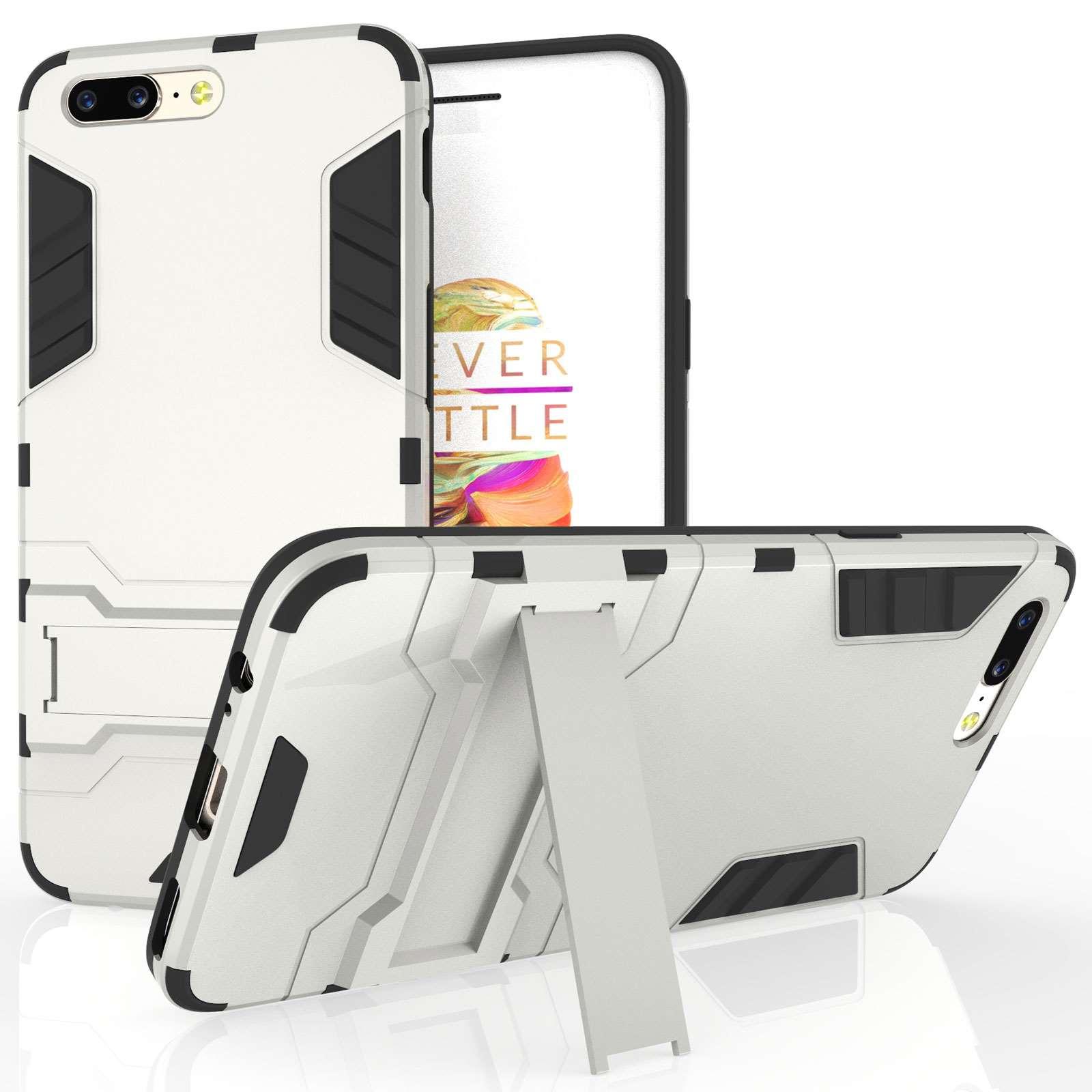 Caseflex Ανθεκτική Dual Layer Θήκη με Stand OnePlus 5 - Steel Silver  (X000QHMX7N)