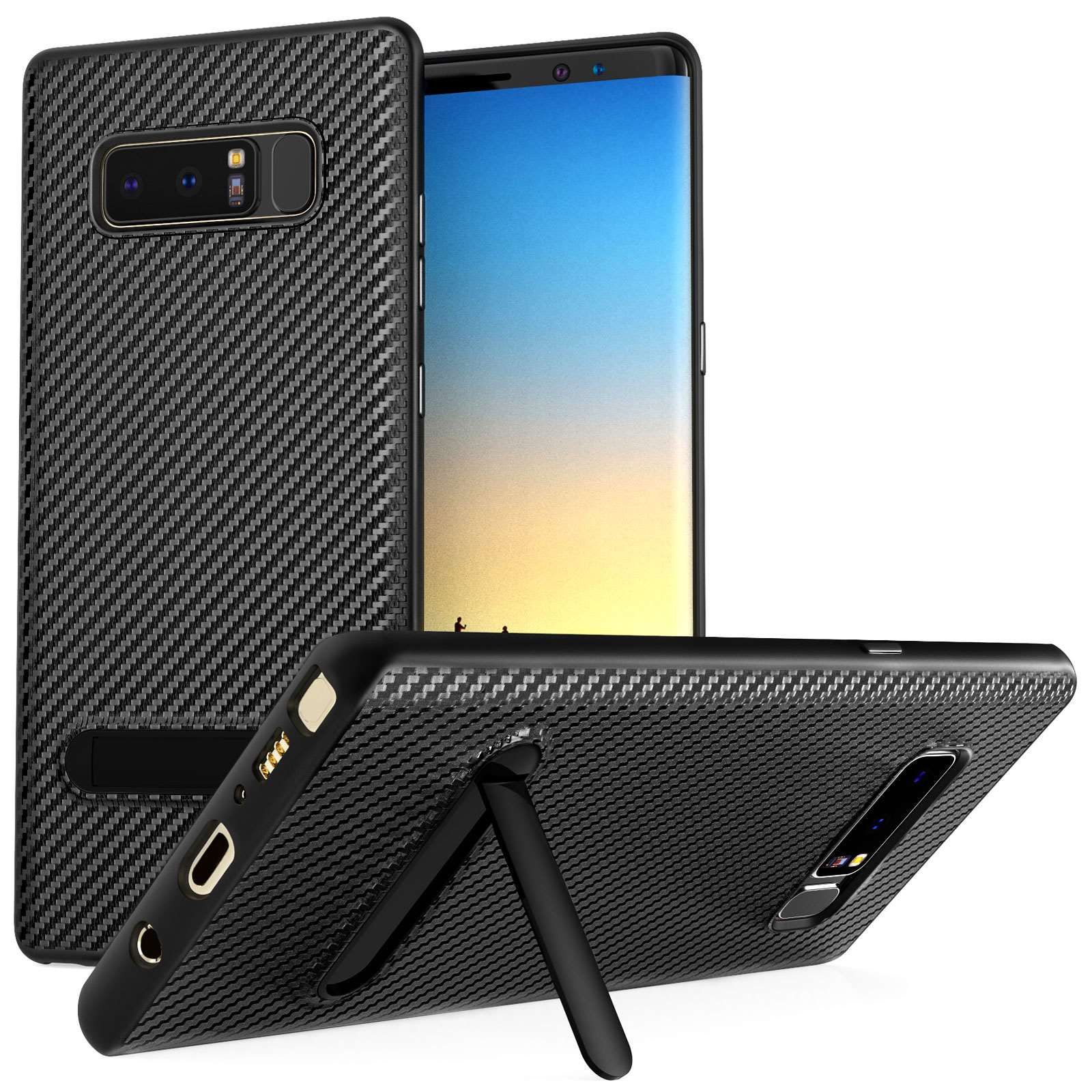 Centopi Θήκη Σιλικόνης Carbon Fibre με Stand για Samsung Galaxy Note 8 - Black (CEN-SAM-264)