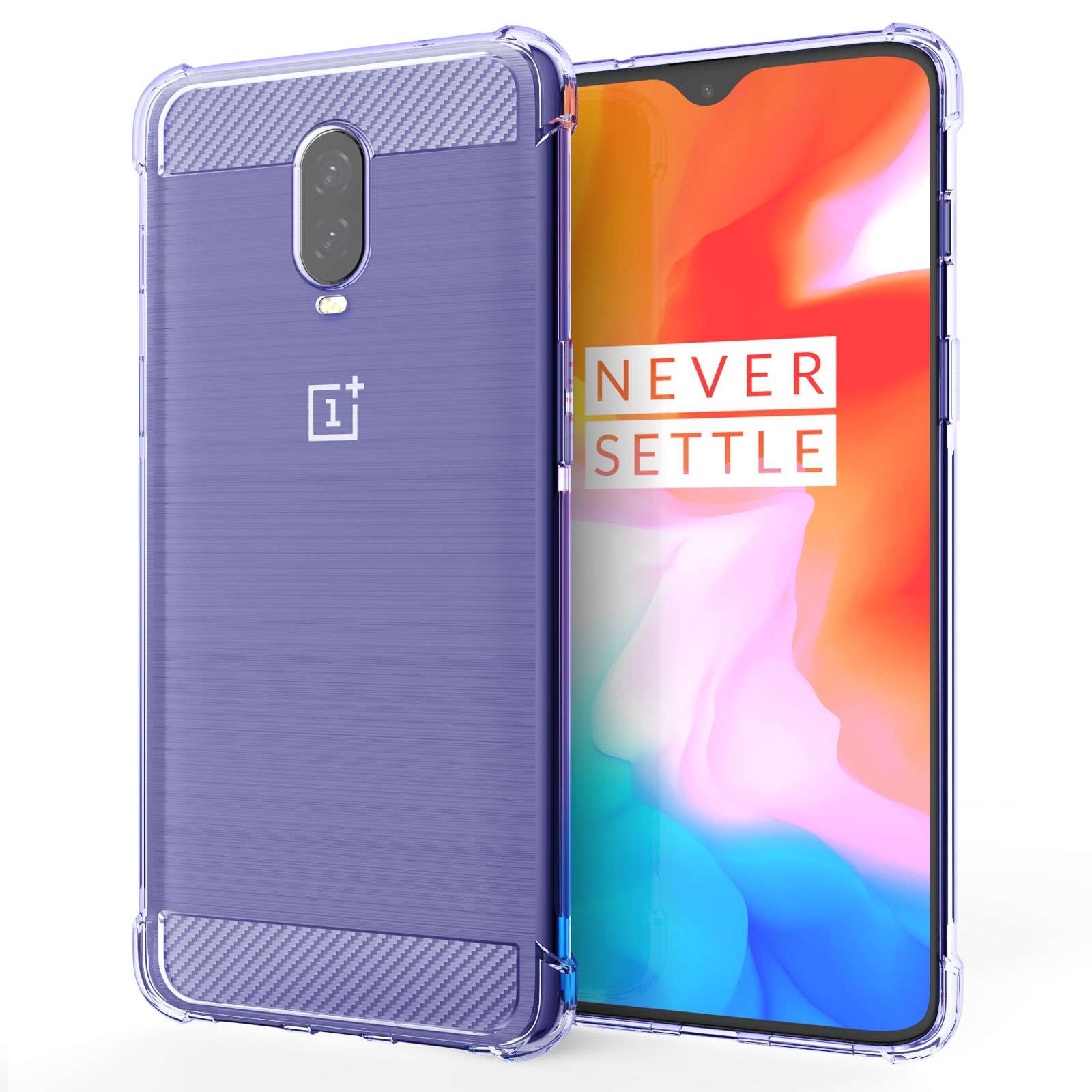 Caseflex Ημιδιάφανη Θήκη Σιλικόνης Carbon Fibre Effect Oneplus 6T - Purple (CS000015ON)