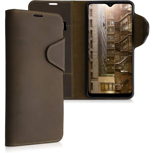 Kalibri Δερμάτινη Suede Θήκη Πορτοφόλι Samsung Galaxy A20s - Brown