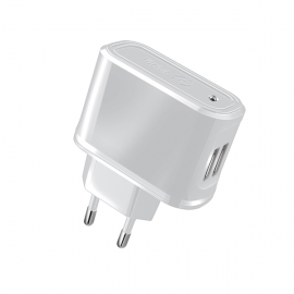 Celly Travel Adapter USB 2.1A - Διπλός Φορτιστής Σπιτιού - White (TCUSB22W)