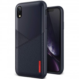 VRS Design Θήκη Leather Fit Label iPhone XR - Navy