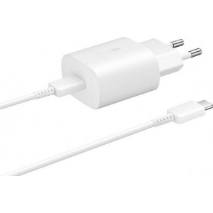 Official Samsung Φορτιστής Ταξιδιού Type - C σε Type - C με Καλώδιο Fast Charge 25W - White