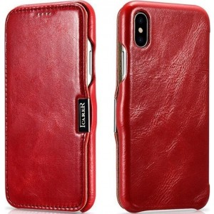 iCarer Vintage Series Side-Open Δερμάτινη Θήκη iPhone XS Max - Red
