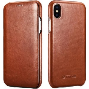 iCarer Vintage Series Curved Edge Folio - Δερμάτινη Θήκη iPhone XS Max - Brown