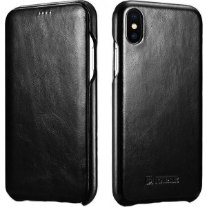 iCarer Vintage Series Curved Edge Folio - Δερμάτινη Θήκη iPhone XS Max - Black