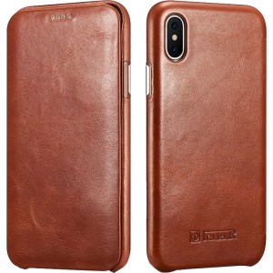 iCarer Vintage Series Curved Edge Side-Open - Δερμάτινη Θήκη iPhone X / XS - Brown