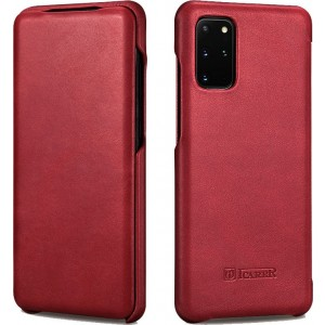 iCarer Vintage Series Curved Edge - Δερμάτινη Θήκη Samsung Galaxy S20 Plus - Red
