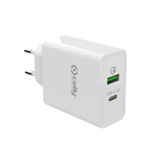 Celly Qualcomm Quick Charge 18W Διπλός Φορτιστής USB-C + USB-A - White