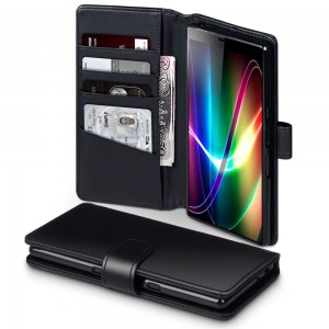 Qubits Sony Xperia 10 Plus Real Leather Wallet Case - Black