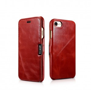 iCarer Vintage Series Side-Open Δερμάτινη Θήκη iPhone 7 - Red