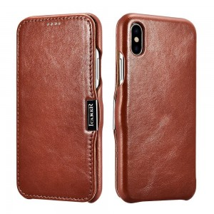 iCarer Vintage Series Side-Open Δερμάτινη Θήκη iPhone X / XS - Brown