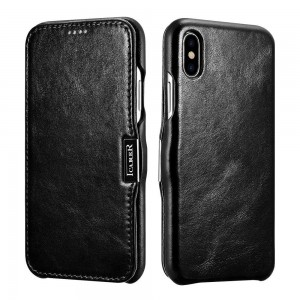 iCarer Vintage Series Side-Open Δερμάτινη Θήκη iPhone X / XS - Black