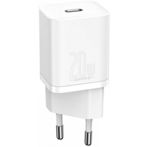 Baseus Super Si Quick Charger 1C - Φορτιστής Ταξιδιού με Type-C x1 - 20W - White