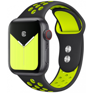 Crong Duo Sport Λουράκι Σιλικόνης Apple Watch SE/6/5/4/3 (40/38MM) - Black / Yellow